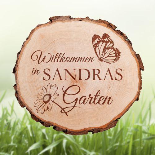 Baumscheibe mit Schmetterling Gravur - Garten