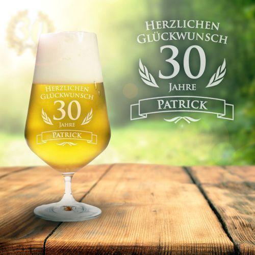 Bierglas zum 30. Geburtstag