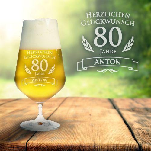Bierglas zum 80. Geburtstag