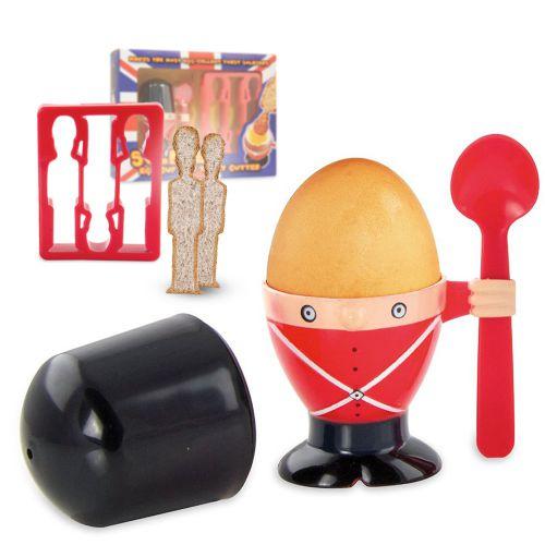 Eierbecher und Toastschneider Frühstücksset - Soldat