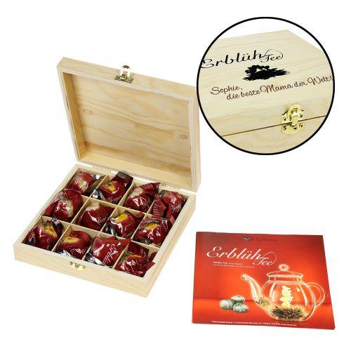 Erblühtee in edler Holzbox mit Beste Mama Gravur Weißer Tee