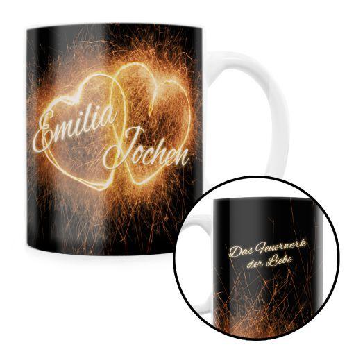 Feuerwerk der Liebe personalisierte Tasse