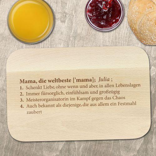 Frühstücksbrett mit Gravur - Definition Weltbeste Mama