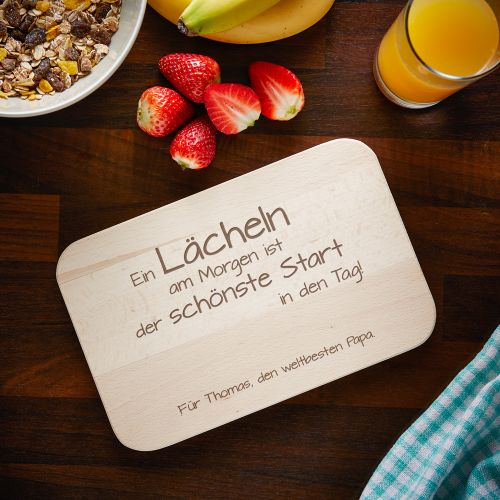 Frühstücksbrettchen mit Gravur - Spruch Papa