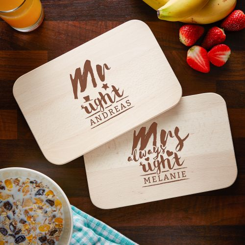 Frühstücksbrettchen Set mit Gravur - Mr and Mrs Right