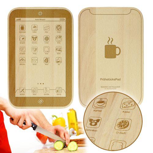 Individuellküchenzubehör - FrühstücksPad graviertes Brettchen - Onlineshop Monsterzeug