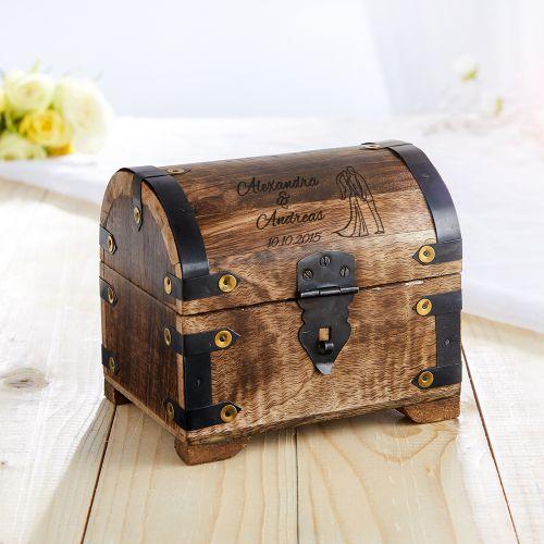Coffre au trésor pour des cadeaux d'argent en bois foncé  motif