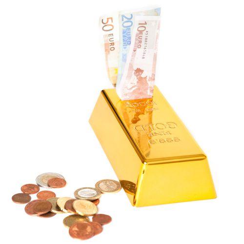 goldbarren spardose gelddose in goldfarbener hochglanzoptik. Black Bedroom Furniture Sets. Home Design Ideas