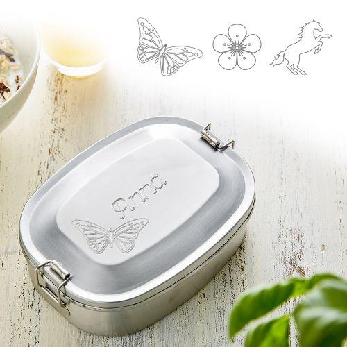 Gravierte Edelstahl Lunchbox für Mädchen - rund