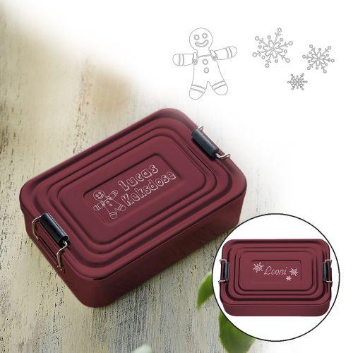 Gravierte Lunchbox zu Weihnachten quadratisch (rot)