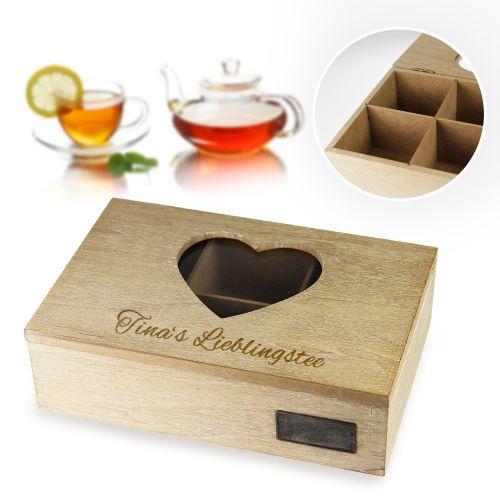 Gravierte Teebox aus Holz - Herz