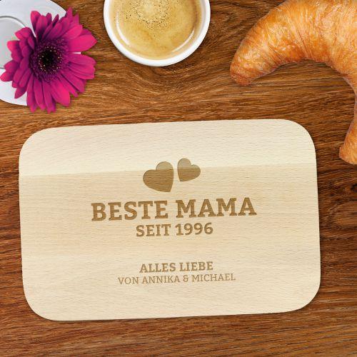 Graviertes Frühstücksbrettchen Beste Mama von Herzen