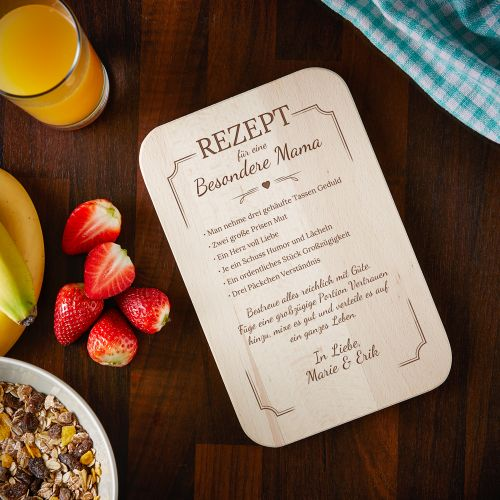Individuellküchenzubehör - Graviertes Frühstücksbrettchen Mama Rezept - Onlineshop Monsterzeug