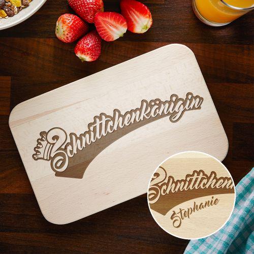 Graviertes Frühstücksbrettchen - Schnittchenkönigin