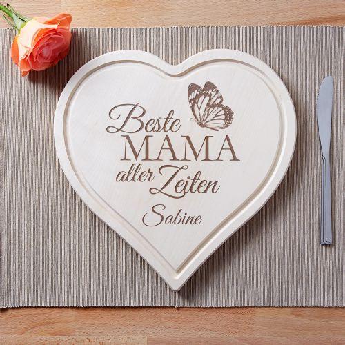 Graviertes Holzherz - Beste Mama aller Zeiten