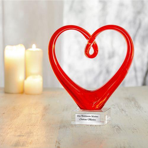 Herz aus Glas mit Gravur - Weltbeste Mutter