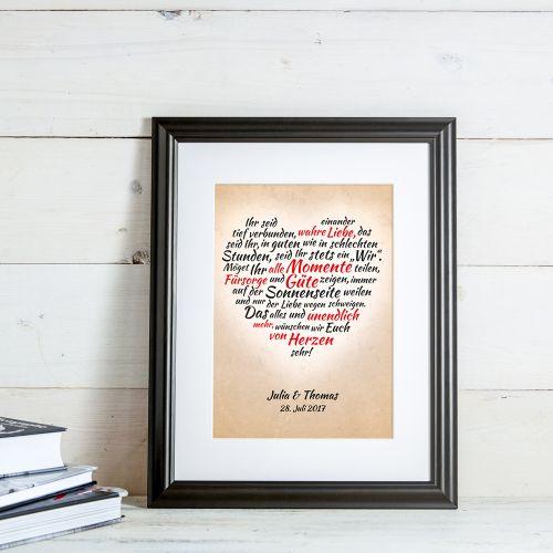 Herz aus Worten personalisiertes Bild für Liebespaare