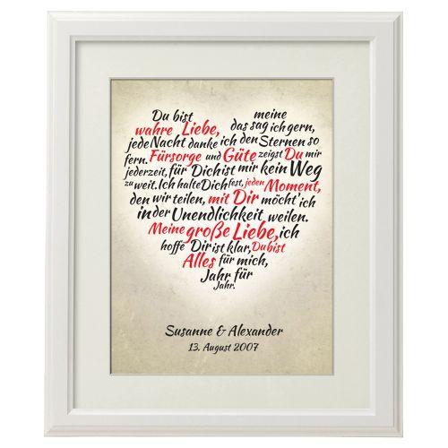 Herz aus Worten personalisiertes Bild Weiß