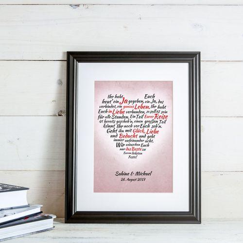 Herz aus Worten - personalisiertes Bild zur Hochzeit
