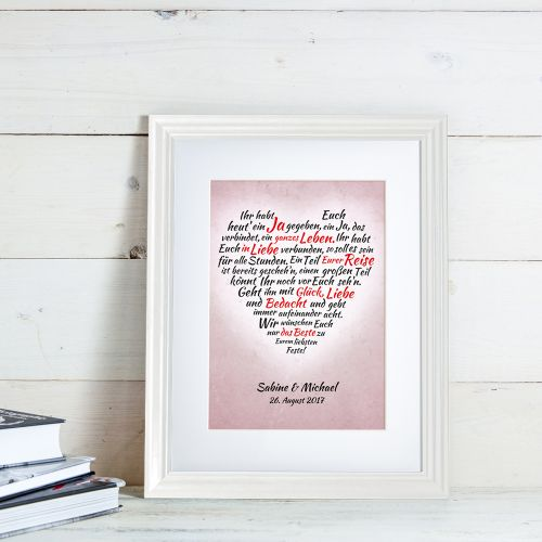 Herz aus Worten personalisiertes Bild zur Hochzeit Weiß