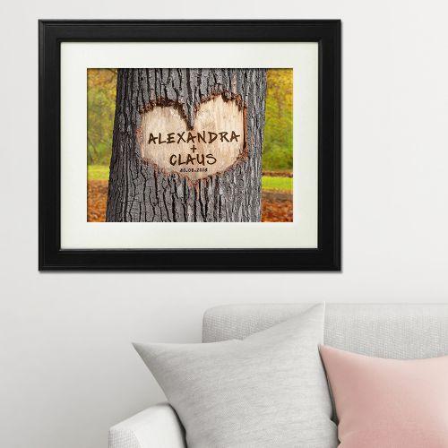 Herz im Baum Herbstbild personalisiert