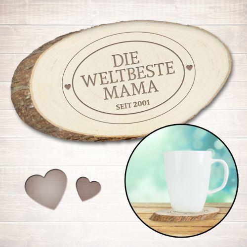 Holzuntersetzer mit Gravur Die Weltbeste Mama
