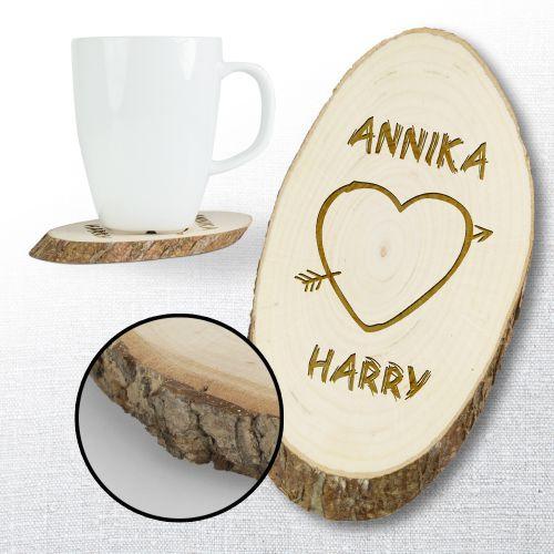 Holzuntersetzer mit Gravur - Herz