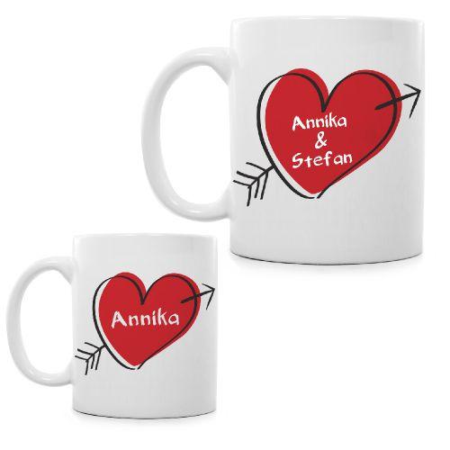 Liebesherz personalisierte Tasse