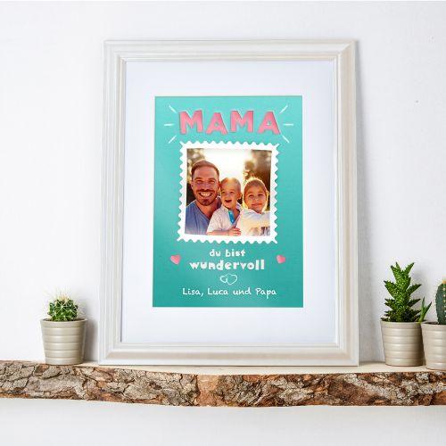 Mama Du bist wundervoll - personalisiertes Bild weiß