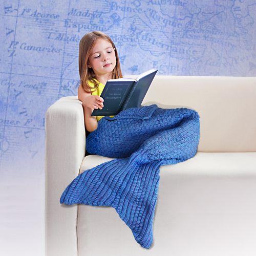 meerjungfrau decke flauschige kuscheldecke f r kinder blau. Black Bedroom Furniture Sets. Home Design Ideas