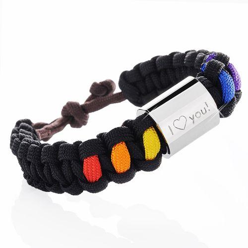 Paracord Armband graviert Regenbogenfarben