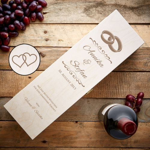 Personalisierte Weinkiste - Hochzeit