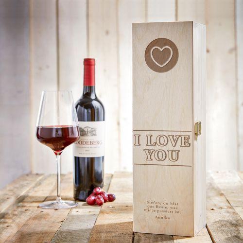 Personalisierte Weinkiste I Love You