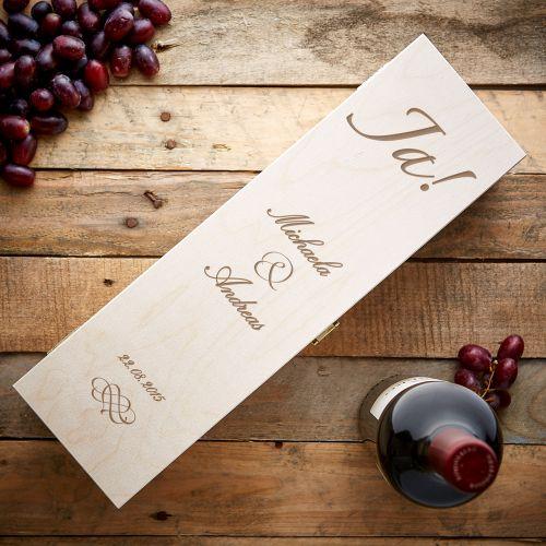 Personalisierte Weinkiste zur Hochzeit Jawort