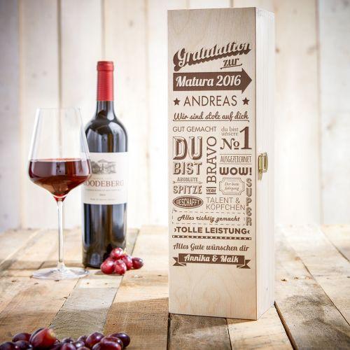 Personalisierte Weinkiste zur Matura - Collage