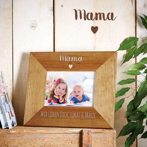 Personalisierter Bilderrahmen Mama mit Herz