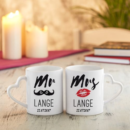 Personalisiertes Herz Henkeltasse Set Mr and Mrs