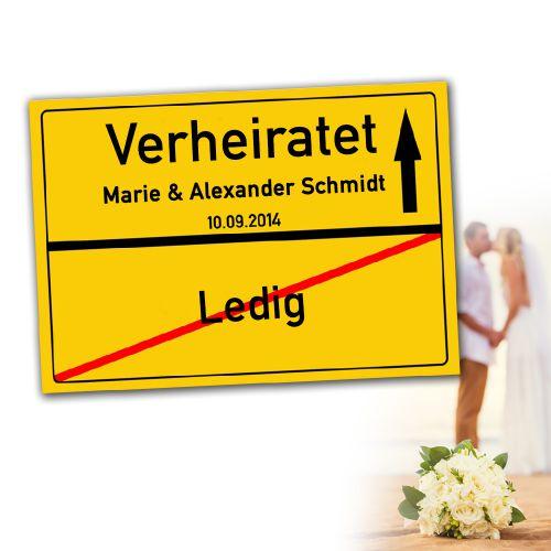 Personalisiertes Ortsschilderbild - Verheiratet