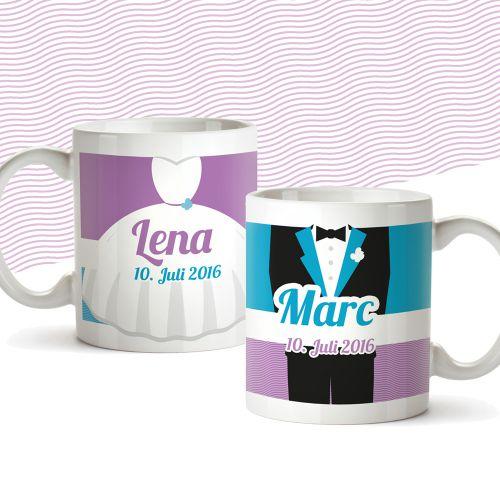 Couple de tasses personnalisées pour le mariage - coloré