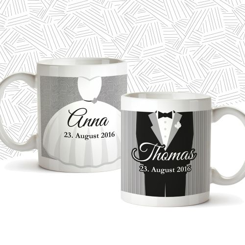 Couple de tasses personnalisées pour le mariage - classique