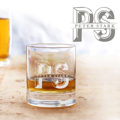 Individuellküchenzubehör - Personalisiertes Whiskyglas Initialen - Onlineshop Monsterzeug