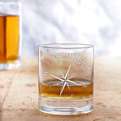Individuellküchenzubehör - Personalisiertes Whiskyglas Kompass - Onlineshop Monsterzeug