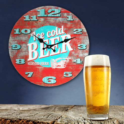 Retro Wanduhr Ice Cold Beer