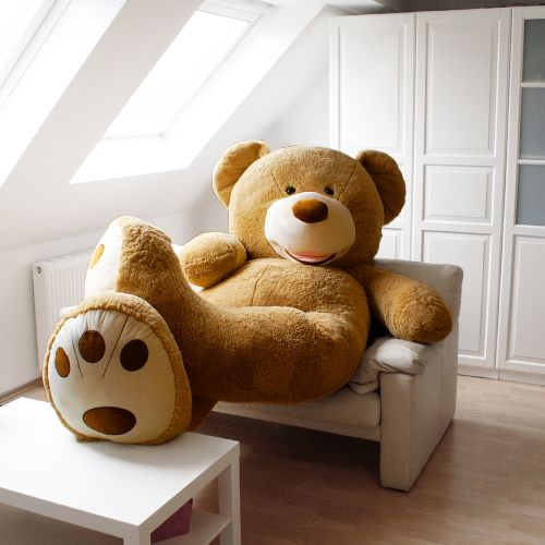 flauschiger riesen teddyb r f r daheim xxl 240 cm 26 kg. Black Bedroom Furniture Sets. Home Design Ideas