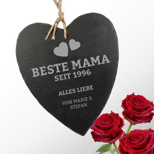 Schieferherz mit Gravur - Beste Mama von Herzen - mit Deinen Namen