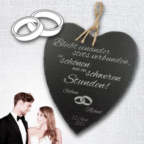 Cœur en ardoise pour le mariage – personnalisé