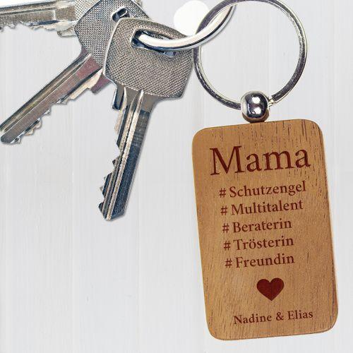 Porte-clé gravé – hashtag maman