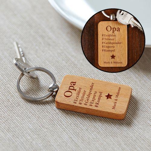 Persönliches Geschenk Schlüsselanhänger Graviert Hashtag Opa