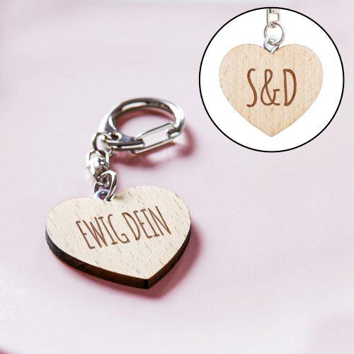 Schlüsselanhänger Holzherz mit Liebesbotschaft