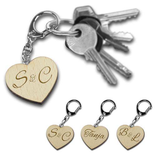 Schlüsselanhänger Holzherz - personalisiert